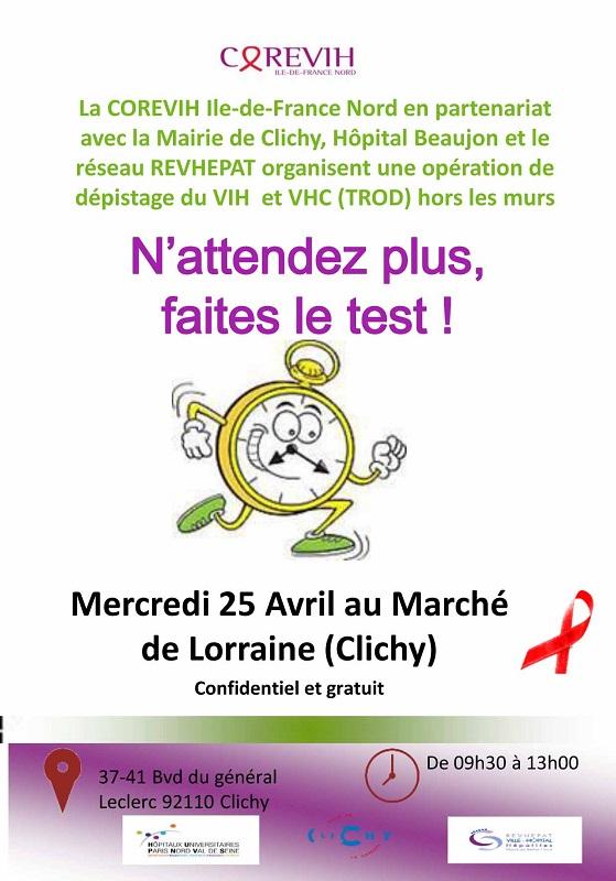 Dépistage rapide du VIH, Marché de Lorraine de Clichy, le 25 avril 2017