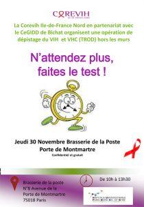 Dépistage hors les murs : le 30 Novembre 2017 @ Brasserie de la poste | Paris-18E-Arrondissement | Île-de-France | France