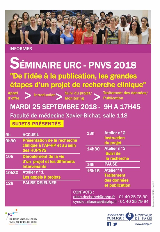 """Séminaire URC – PNVS 2018 -""""De l'idée à la publication, les grandes étapes d'un projet de recherche Clinique"""""""