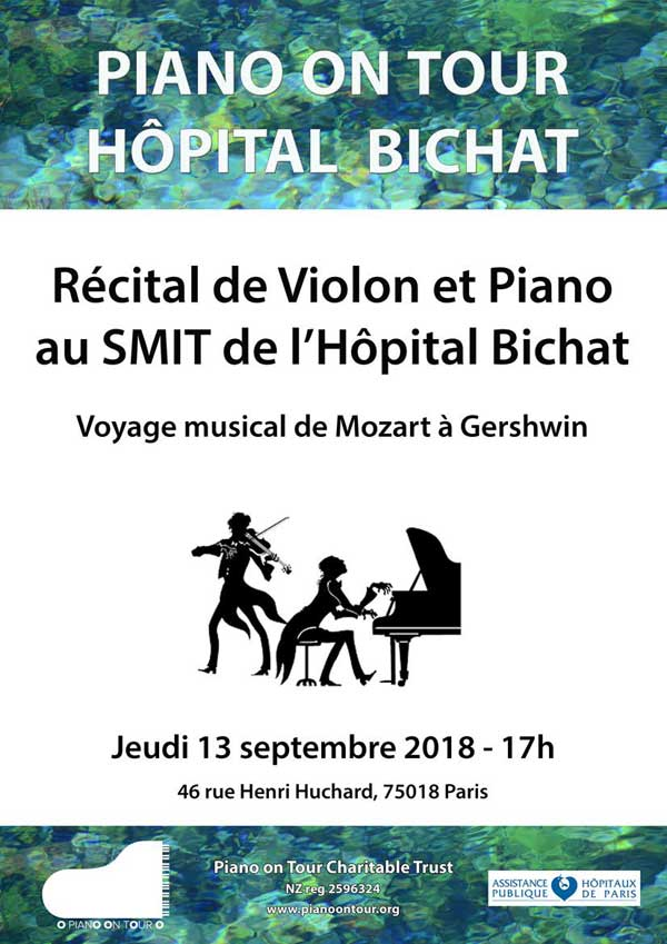 Piano on Tour Bichat Récital de piano et violon au SMIT de l'hôpital Bichat – Voyage musical de Mozart à Gershwin