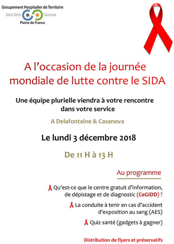 Journée mondiale de lutte contre le VIH / sida, au Centre hospitalier Delafontaine à Saint Denis – 03 décembre 2018