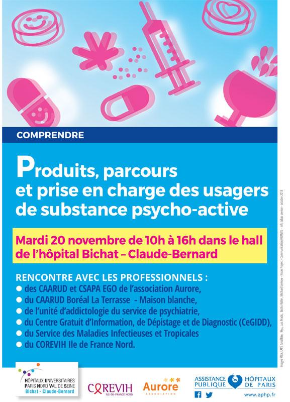Journée de sensibilisation « Produits, parcours et prise en charge des usagers de substances psycho-actives » le 20 novembre 2018 @ Hall de l'hôpital Bichat Claude Bernard | Paris | Île-de-France | France