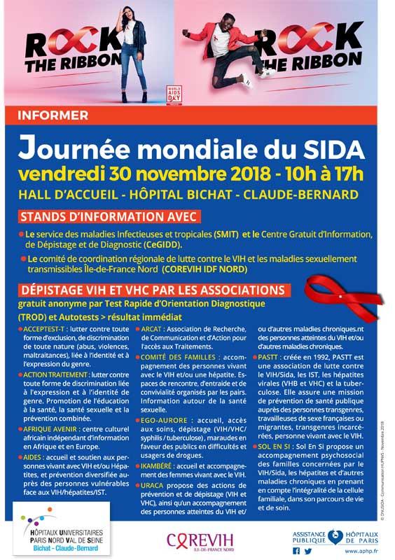 Journée mondiale de lutte contre le VIH / sida, à l'hôpital Bichat Paris 18ème - 30 novembre 2018
