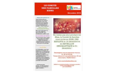 Les activités du Comité des Familles en décembre 2018