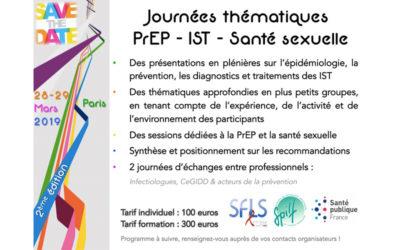 Journées thématiques PREP / IST / SANTE SEXUELLE organisées par la SFLS, SPILF et Santé Publique France les 28 et 29 mars 2019 à Paris