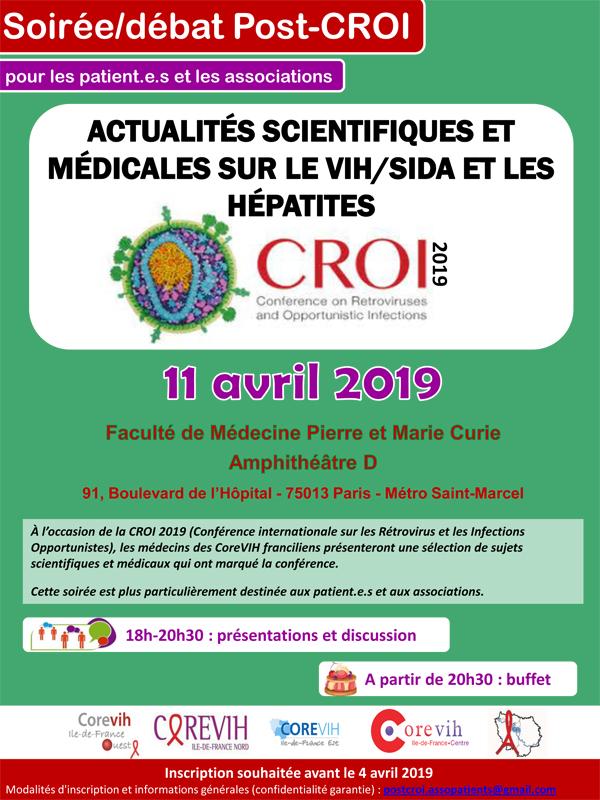 Soirée-débat POST CROI pour les patient.e.s et les associations le 11 avril 2019 à Paris, organisée par les 5 COREVIHs d'Ile de France @ Faculté de Médecine Pierre & Marie Curie - Amphithéâtre D | Paris | Île-de-France | France