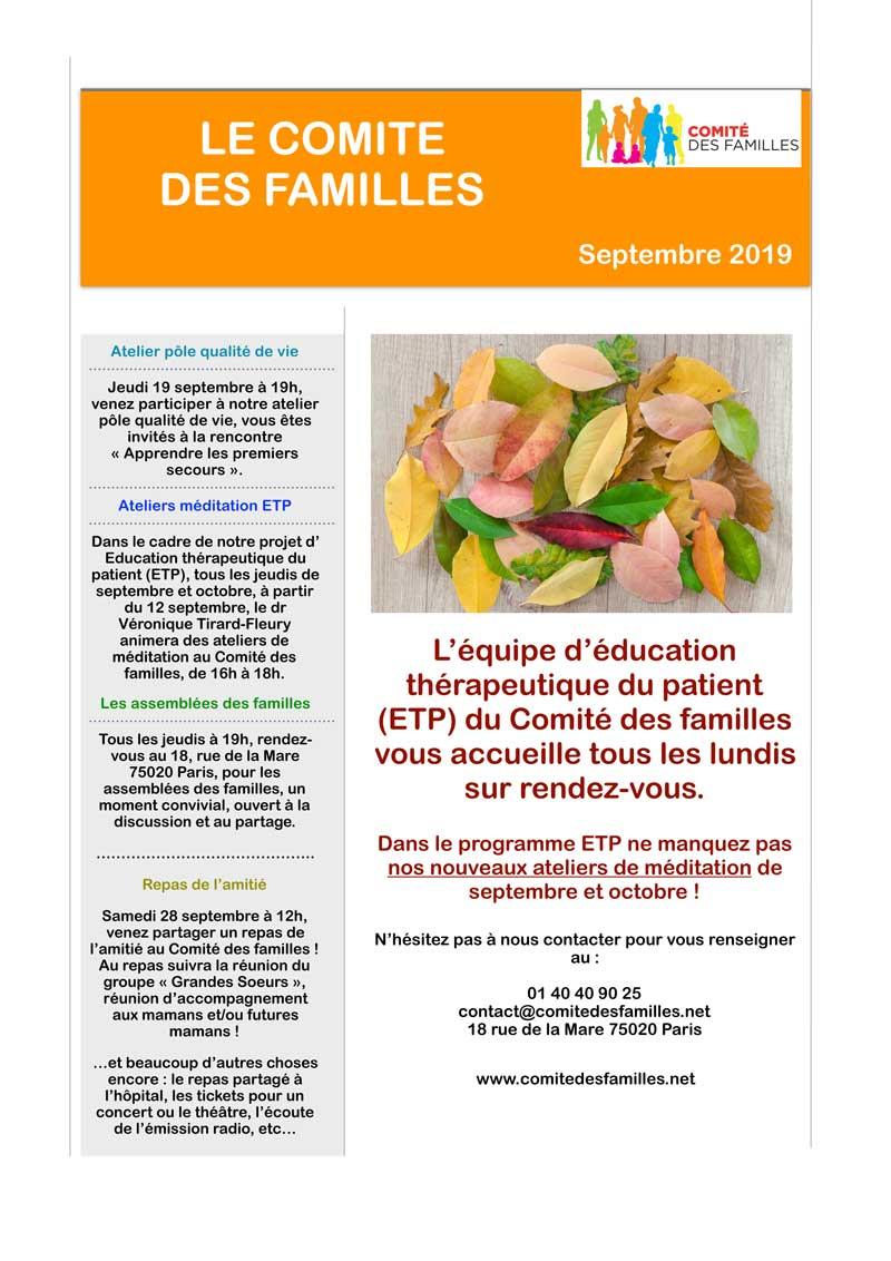 Agenda Comité des Familles Septembre 2019