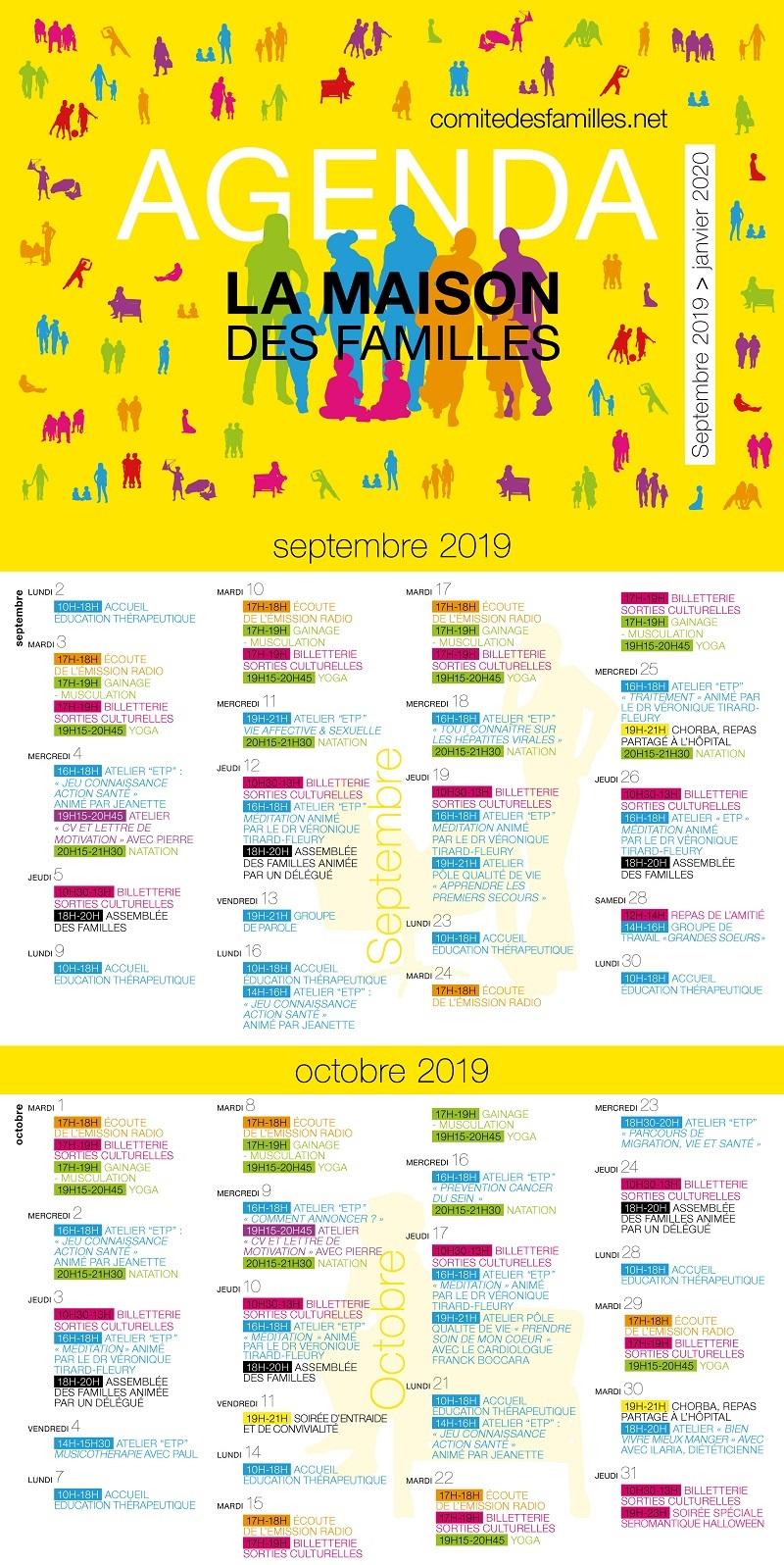 Agenda Comité des familles septembre 2019 janvier 2020