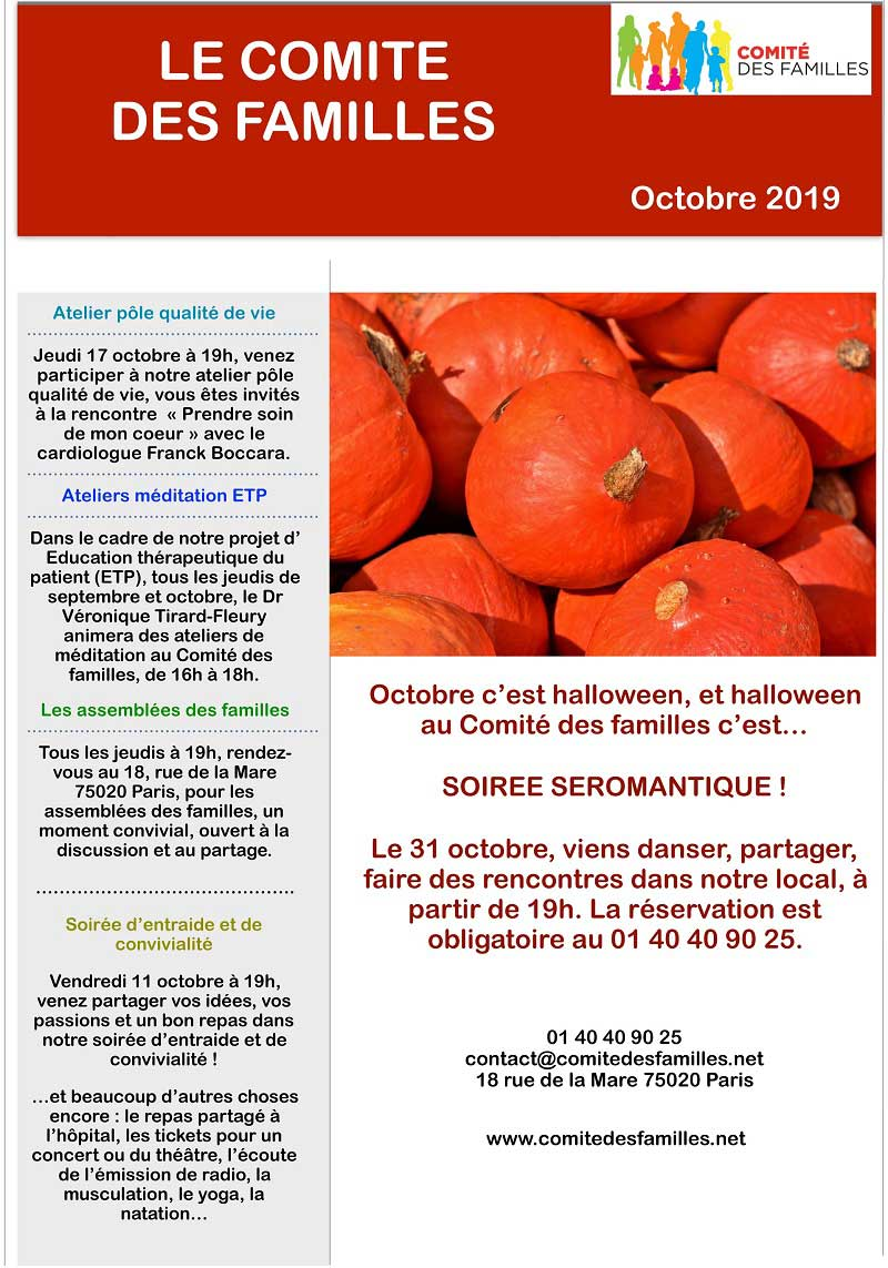 Agenda du Comité des Familles - Octobre 2019