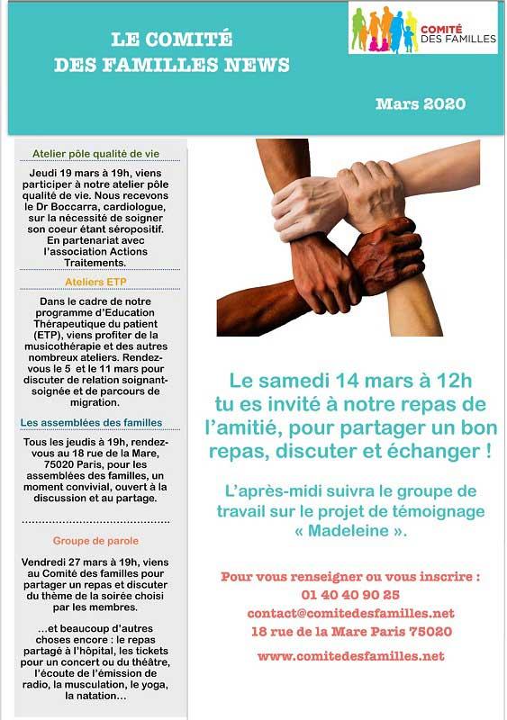 Les activités du Comité des Familles – Mars 2020