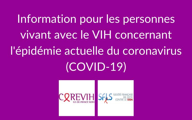 Information pour les personnes vivant avec le VIH concernant l'épidémie actuelle du coronavirus (COVID-19)